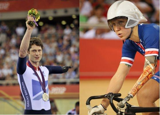 Jon-Allan Butterworth (left) with one of the three silver medals he credits Greta Neimanas (right) for helping him win.  (Composite of photos by Glyn Kirk and Bryn Lennon / Getty Images)