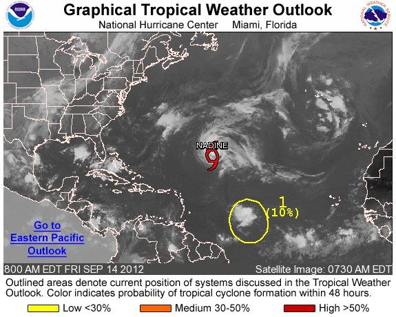 Tropical Storm Nadine is the only active storm in the Atlantic but is making a turn away from the U.S.