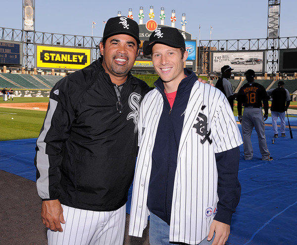 Former White Sox manager Ozzie Guillen (left) and actor Zach Gilford (right) at U.S. Cellular Field in 2009.