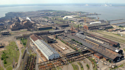 Looking south over the Sparrows Point steel mill.