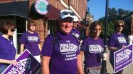 Dave Stephens, president of the local Alzheimer's Association board, and two friends T.J. Prieur and Darren Gerlack, set off on a 250-mile walk Wednesday to raise funds for Alzheimer's and to publicize the disease.
