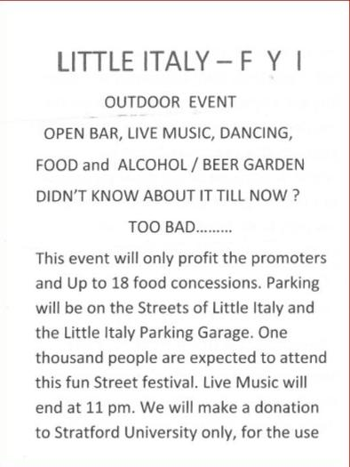 A flyer received by Little Italy residents in their mailboxes