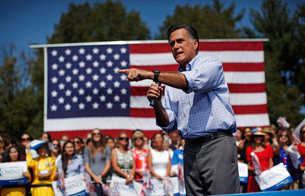 U.S. Republican presidential nominee and former Massachusetts Governor Mitt Romney speaks at a campaign rally in Fairfax, Virginia, September 13, 2012.