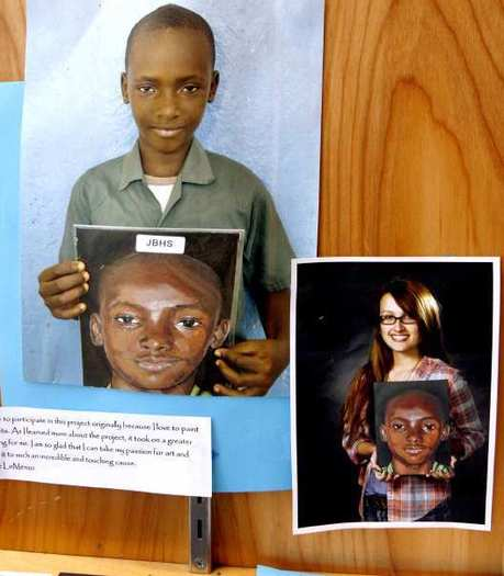 "Dena Williams' art class student Zoe LoMenzo, lower right, made this ""Portraits of Kindness"" portrait from a photo of an orphan child from Africa, shown here at the John Burroughs High School entry way in Burbank on Tuesday, Sept., 11, 2012."