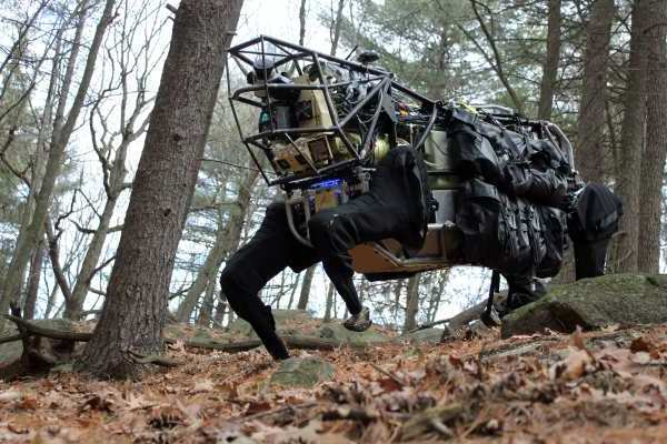 The mule-like Legged Squad Support System was developed by the military's Defense Advanced Research Projects Agency. DARPA provided images of the beast on Sept. 12, 2012, showing the robot being tested on rough terrain. The robot, known as LS3, is intended to demonstrate that a highly mobile, semi-autonomous legged robot can carry 400 pounds of a military squad's load, follow squad members through rugged terrain and interact with troops in a natural way, similar to a trained animal and its handler, according to DARPA. The LS3 program goal is to develop a robot that will go through the same terrain the squad goes through without hindering the mission. The robot could also serve as a mobile auxiliary power source.