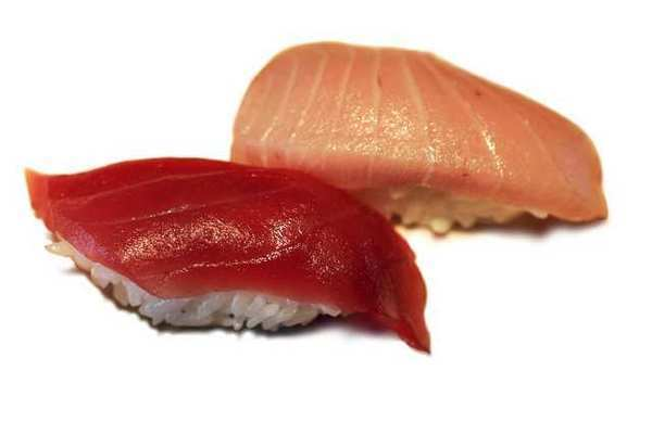 Blue fin tuna and toro from Sushi Yotsuya in Tarzana. Sushi is now more expensive on average in New York City than in Los Angeles.