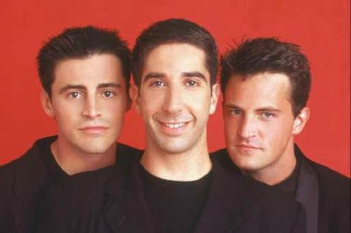 A file photo from 1995 shows sitcom cast members Matt LeBlanc, from left, David Schwimmer and Matthew Perry.