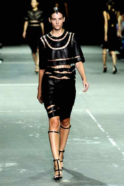 Clean, geometric lines, stripes, color-blocking and cutouts were among motifs seen at Alexander Wang, Victoria Beckham, Narciso Rodriguez, Michael Kors and Chado Ralph Rucci. Pictured is a look from the Alexander Wang collection.