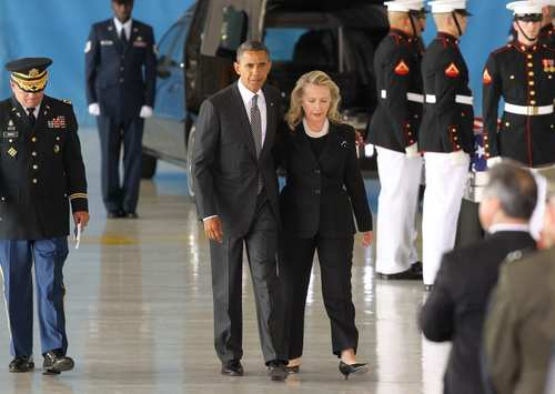 President Obama and Secretary of State Hillary Rodham Clinton walk away from the podium during the ceremony.