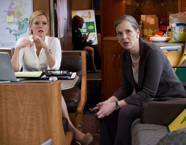 "Amy Morton (right, with Kathleen Robertson) stars as gubernatorial candidate Sen. Catherine Walsh in the Starz drama ""Boss."" The Tony nominee and Oak Park native is well known on the stages of Chicago. She's a member of the Steppenwolf Theatre Company and has appeared in productions at Remains and other local theaters."
