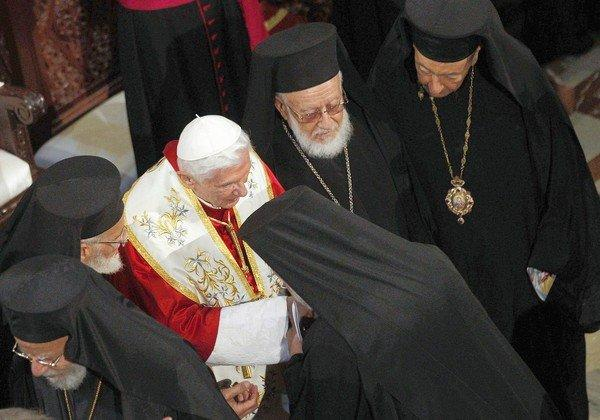Pope Benedict XVI leaves after a ceremony at St. Paul Basilica in Harissa, Lebanon, near Beirut, on the first day of his visit to the Mideast nation.