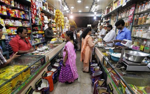 Many of India's retail stores are small, such as this one in Mumbai.