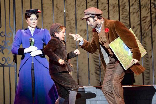 Mary Poppins (Madeline Trumble), Michael Banks (Eli Tokash) and Bert (Con O'Shea-Creal ) in the first act of Friday's opening night of 'Mary Poppins' at The Bushnell.