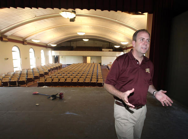 Alan LaFave, dean of the school of fine arts at Northern State University, talks about the nearly finished remodeling of Krikac Auditorium during a tour Friday.