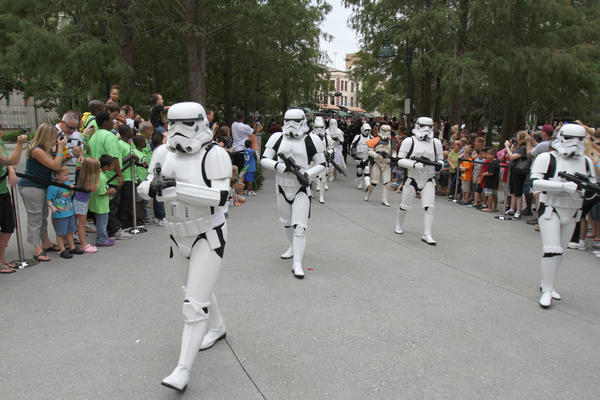 Star Wars 501st legion march into the Orange County Regional History Center during Galactic Encounter Day in Orlando, Fla.
