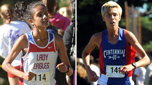 Shreya Nalubola (left) and Alec Font helped Centennial sweep the Barnhart Invitational in their school's first appearance at the meet.