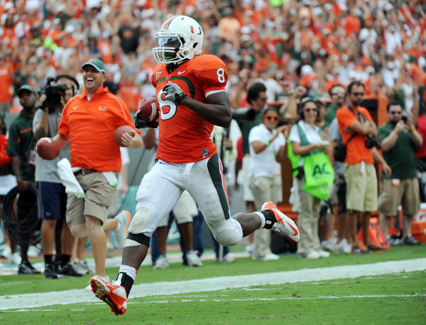 UM's Duke Johnson scores one of the four touchdown against Bethune-Cookman.