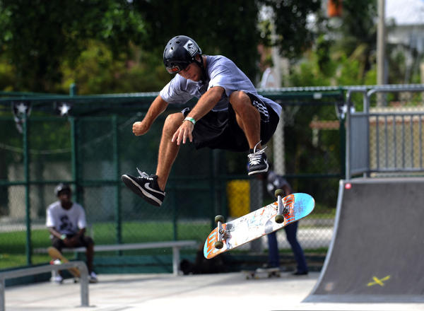 Bruno Martins, 21, of Boca Raton won the game of SKATE contest Saturday at the Hobbit Skateboard Park in Delray Beach. Mark Randall, South Florida Sun Sentinel