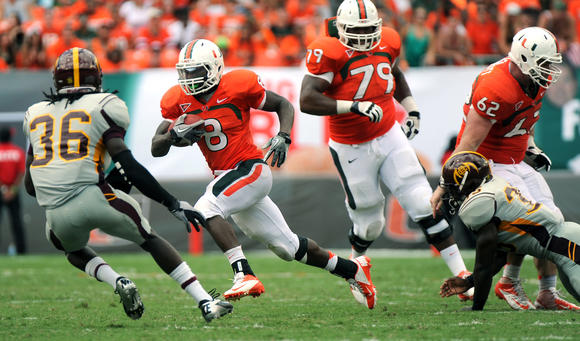 University of Miami running back Duke Johnson runs for a third quarter touchdown.