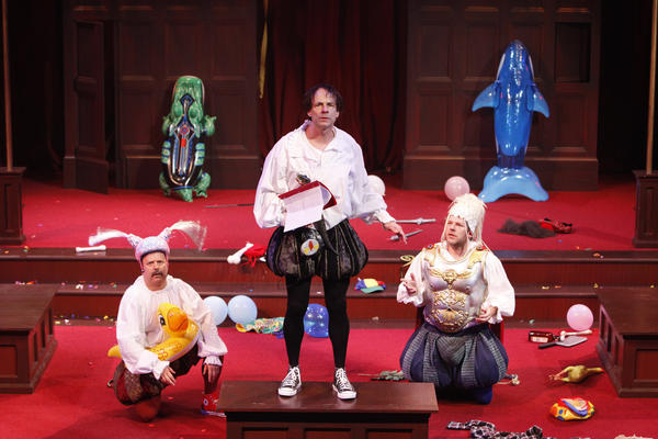 "Brad DePlanche (from left), Christopher Patrick Mullen and Philip Nolen in ""The Complete Works of William Shakespeare (abridged)."""