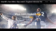 Pig-tailed little girl grills Ray Lewis in new Visa ad