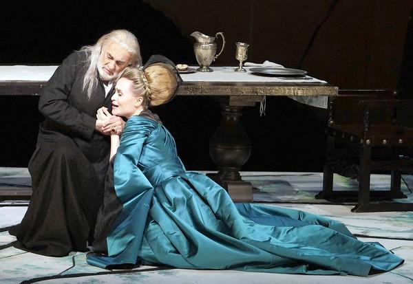 "Marina Poplavskaya as Lucrezia Contarini and Plácido Domingo as Francesco Foscari in Verdi's ""The Two Foscari"" at the Dorothy Chandler Pavilion."