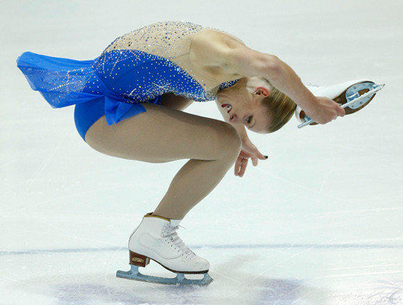 Agnes Zawadzki in Sunday's free skate at the U.S. International Classic. (George Frey / Getty Images)