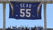 SAN DIEGO -- The San Diego Chargers retired the No. 55 worn by the late linebacker Junior Seau before Sunday's home opener against the Tennessee Titans at Qualcomm Stadium.
