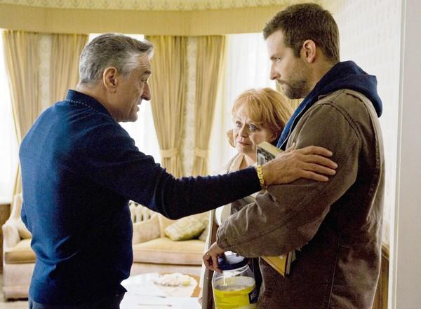 "Robert De Niro, left, Jacki Weaver and Bradley Cooper in ""Silver Linings Playbook."".]"