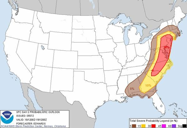 Severe weather is in the forecast for Tuesday amid heavy rains in Maryland.