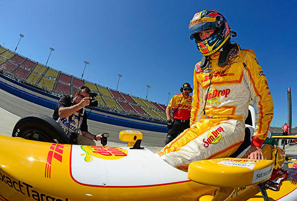 Ryan Hunter-Reay, driver of the #28 Andretti Autosport Dallara Chevrolet during practice for the IZOD IndyCar Series MAVTV 500 World Championship at the Auto Club Speedway on September 14, 2012 in Fontana, California.