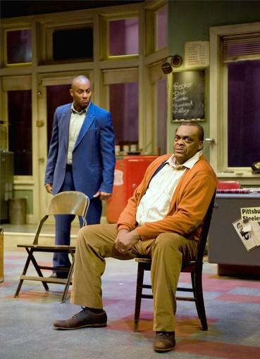 "Anthony Fleming III (Booster) and A.C. Smith (Becker) in the August Wilson drama ""Jitney."""