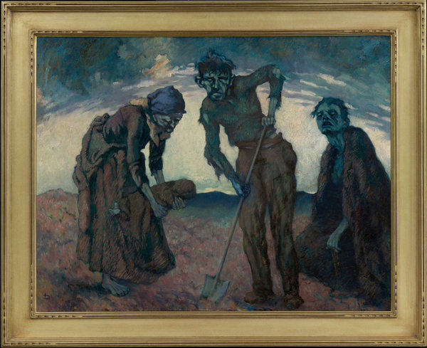 This heart-rending scene, an oil painting by famed Irish portrait and landscape artist Lilian Lucy Davidson (1893-1954), was unusual for Irish painting of the period. It echoes the European tradition -- particularly Picasso in his Blue Period -- of artists engaged with the darkness of the apocalyptic years just before and after World War I.