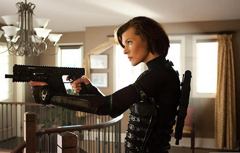 "Alice (Milla Jovovich) is back killing zombies in ""Resident Evil: Retribution."""