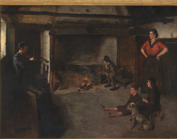 The artist who created this oil painting of a sparsely furnished traditional Irish cottage with the hearth at the center of the home is not known. In the painting, an elderly man sits isolated from the rest of the family, apparently dwelling on sorrowful memories.