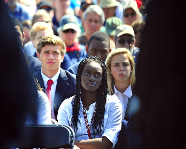 Abena Agyeman and fellow Saint James School students listen Monday to remarks about the 150th anniversary of the Battle of Antietam. The Battle of Antietam was fought Sept. 17, 1862. A commemoration event was held Monday at Antietam National Battlefield.