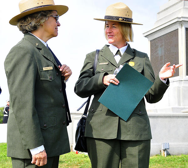National Park Service Associate Director for Cultural Resources Stephanie Toothman, left, and Antietam National Battlefield Superintendent Susan Trail chat before speaking Monday on the 150th anniversary of America's bloodiest day.