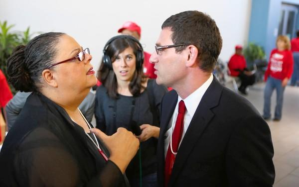 At the bargaining table, rank-and-file members of the teachers union's team often pushed back against union President Karen Lewis, left, and Vice President Jesse Sharkey, seeking to fight the district harder on job security and raises.