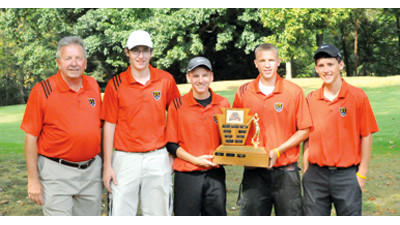 Conemaugh Township captured the team championship at the 2012 WestPAC Golf Tournament at North Fork Country Club on Monday. Team members are, from left, coach Scott Cable, Luke Varner, Christian Yoder, Dillon Boyer and Evan Steeves.