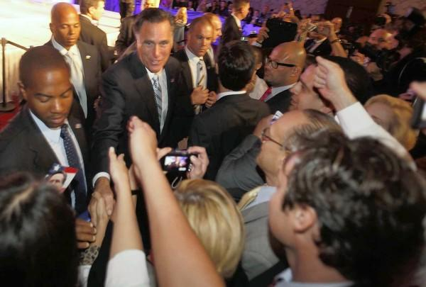 Mitt Romney greets his audience at the U.S. Hispanic Chamber of Commerce convention in Los Angeles.