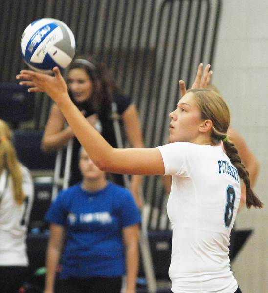 Megan Tompkins had a team-high 18 kills Monday in leading Petoskey to a Big North Conference volleyball win at West Branch Ogemaw Heights.