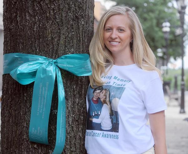 Singer-songwriter Susyn Timko is using teal ribbons to raise awareness about ovarian cancer, which claimed her mother's life. Timko grew up in Bethlehem and will be singing there this month as part of the national efforts to combat the disease. Michael Kubel The Morning Call ----Thursday September 6, 2012 in Bethlehem
