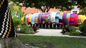 Good Looks for Fall: The Yarn Bomb Collections Debut on the WSU Sculptures