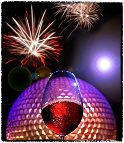 Spaceship Earth, fireworks and wines from around the world, featured at the 2012 Epcot International Food & Wine Festival, photographed August 30,  2012.  It is the 17th year for the festival. ( (Photo Illustration/Joe Burbank/Orlando Sentinel)
