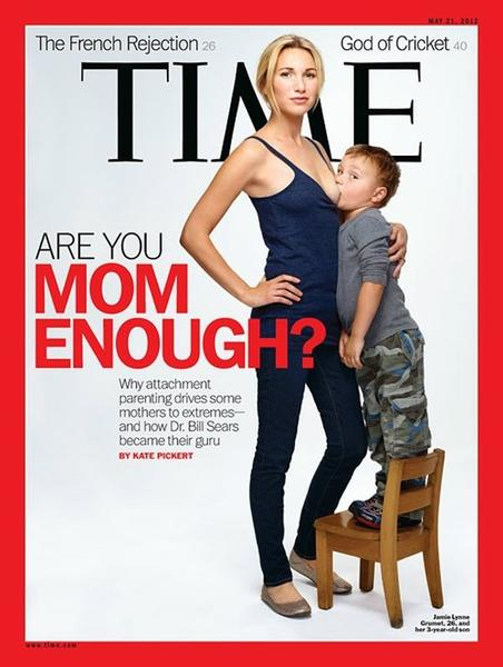 Ladies, here's your chance to be topical and sexy(?) at the same time. You remember that Time cover from May with a mom in skinny jeans, skimpy tank top with one breast exposed to her breast-feeding 4-year-old son? That's your costume, but don't use a real kid. Just rig up a baby doll to your chest.