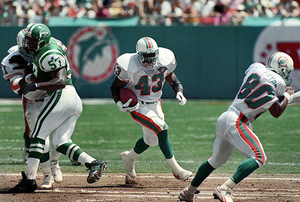 <b>09/18/1994</b><br></br> Miami Dolphins v New York Jets at Joe Robbie Stadium (now Sun Life Stadium) Miami Dolphins running back Terry Kirby.