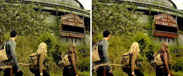 "Characters on NBC's new show ""Revolution"" pass in front of Wrigley Field. The image on the left is from an online clip released this spring. The image on the right is from the show's Monday night premiere. Note the change to the stadium's marquee."
