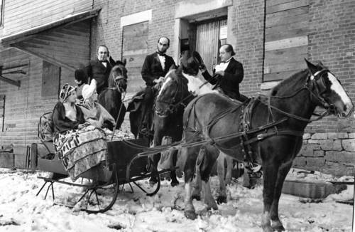 Hinsdale residents ride to Graue Mill in Civil War-era clothes on Feb. 10, 1932. The actors are portraying Judge David Davis, Abraham Lincoln and Stephan Douglas, among others.