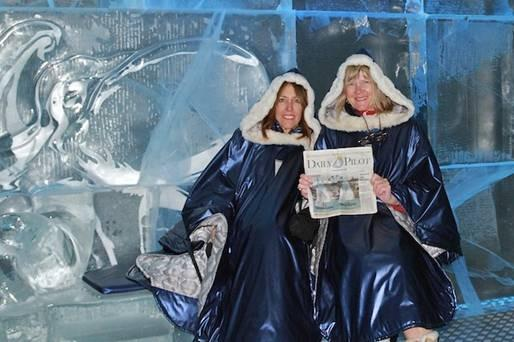 Ellen Gaar and Marlene Tolfa of Newport Beach at the Ice Bar in Oslo, Norway.