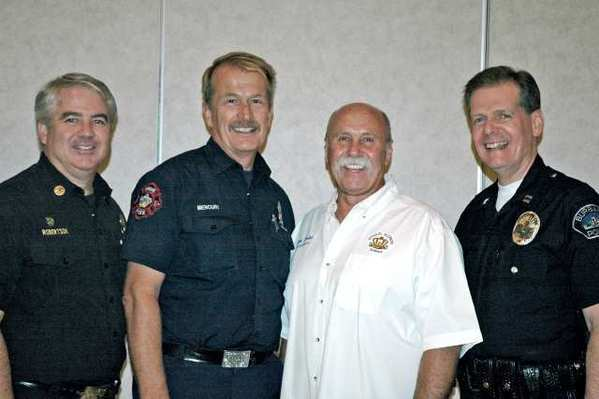 Attending the Road Kings charity distribution meeting are, from left, Assistant Fire Chief Kenet Robertson, Fire Engineer Terry Mencuri, Police Captain Denis Cremins and Road Kings President Rick Kalisz.